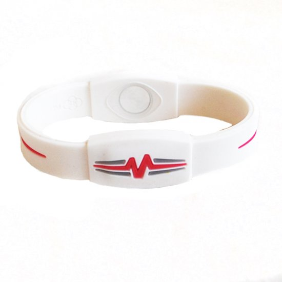 "Mojo Wristband Elite Double Holographic | 7"" White - Red - Blue - Click Image to Close"